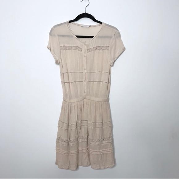 Aritzia Dresses & Skirts - Aritzia Talula Light Pink Button Front Cinch Dress